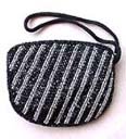 Handcrafted bead clutch handbag in silver and black striped design from China designer wholesale boutique exporter